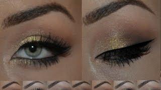 Красивый вечерний макияж  с золотом