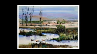 "Learn to Paint: ""Duck Pond in Summer"" easy landscape in watercolour."