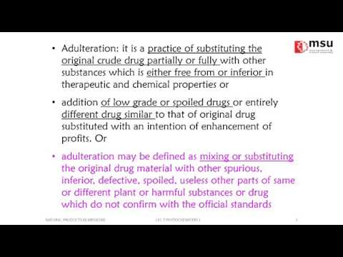 Phytochemistry 1: Adulterated Drugs by Dr. Erwin Martinez Faller