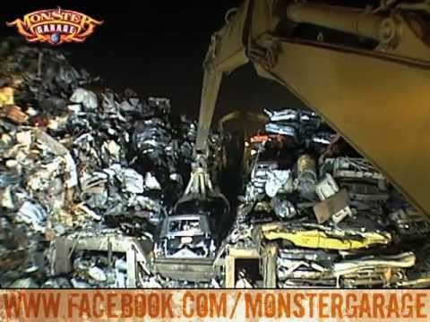 Monster Garage The Hearse Car Crusher Meets A Fiery End Youtube