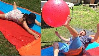 embarrassing husband slip n slide fails heel wife goes full cringe