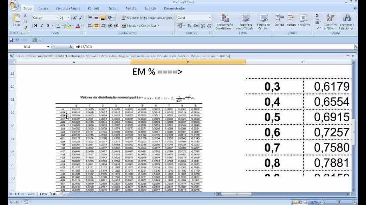 Como calcular probabilidade no excel