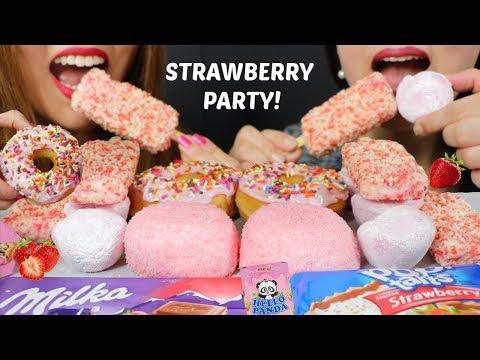 ASMR STRAWBERRY ICE CREAM + CHOCOLATE PARTY! 리얼사운드 먹방   Kim&Liz ASMR