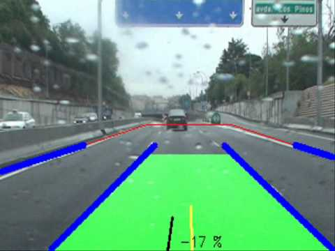 Lane tracking and vehicle tracking (rainy day)