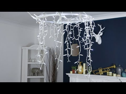 How To Make A Hula Hoop Chandelier Using Fairy Lights You