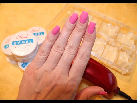 Наращивание ногтей однофазным гелем (на типсах) в домашних условиях.