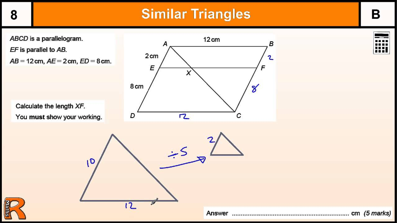 Similar Triangles In A Parallelogram Gcse Maths Revision