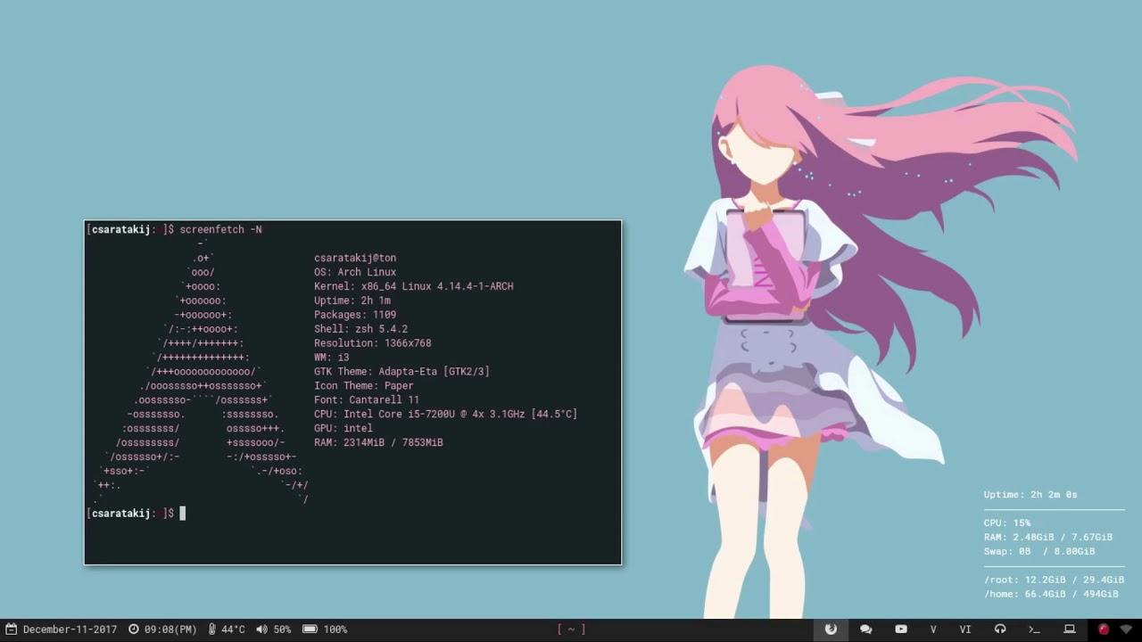 (i3 rice) : Rin, Shelter : [ My Arch Linux Setup ]