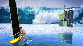 GTA 5 - Surfing the Biggest Tsunami!! (1000ft Waves)