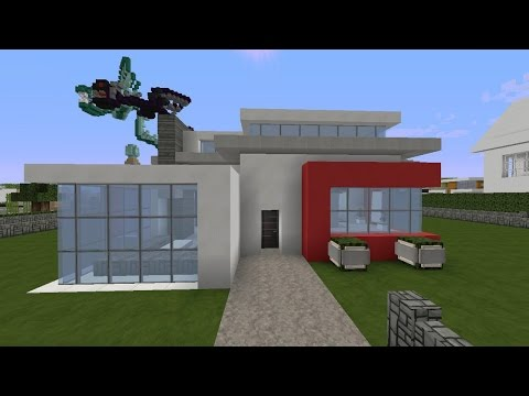 download minecraft modernes haus samstag rot wei grau bauen tutorial. Black Bedroom Furniture Sets. Home Design Ideas