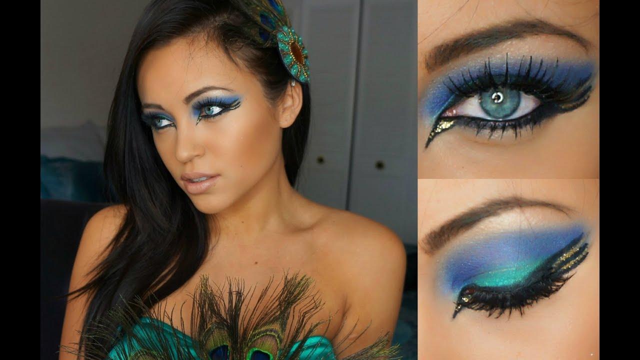pretty peacock halloween tutorial - youtube