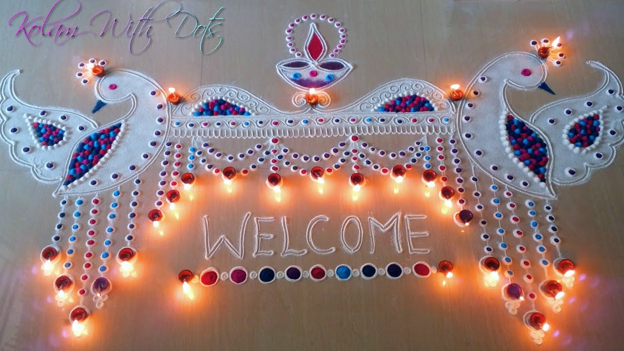 Beautiful Welcome Rangoli Designs with Colours For ...