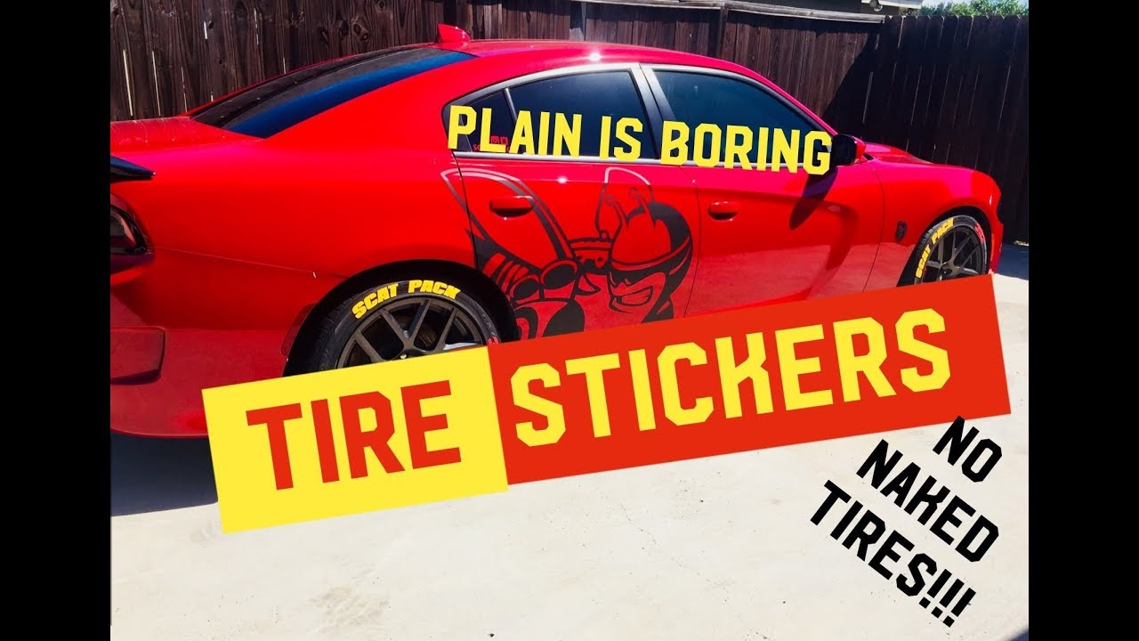 Awesome tire stickers install on my 2017 dodge charger scat pack