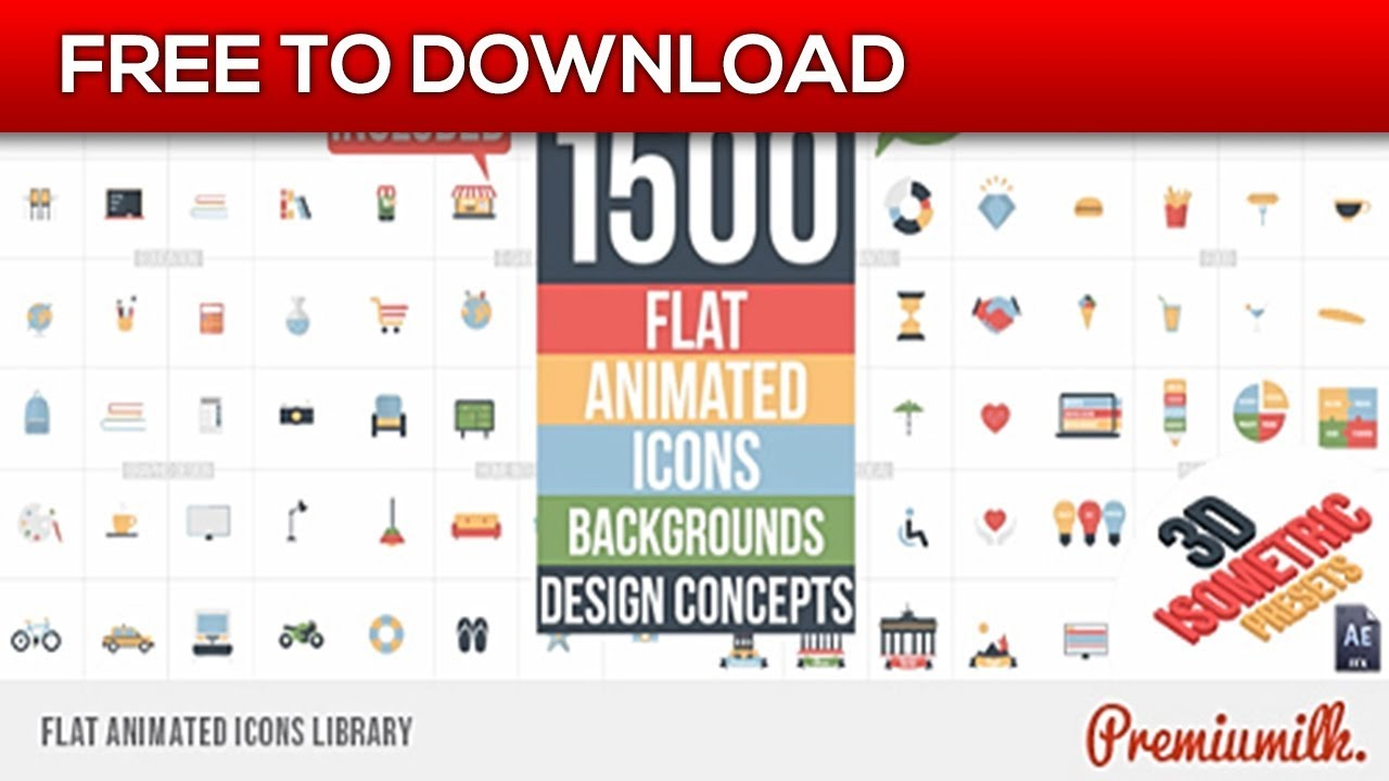 Flat Animated Icons Library | After Effects Template | Free Download