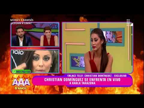 Christian Domínguez se enfrenta en vivo a Karla Tarazona