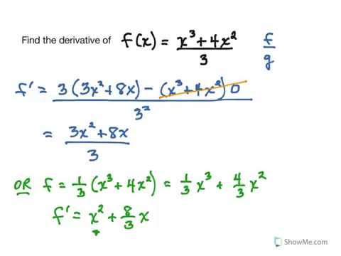 Quotient Rule for Finding Derivatives