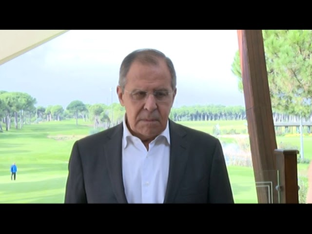 Выход к прессе С.В.Лаврова по итогам трехсторонних переговоров