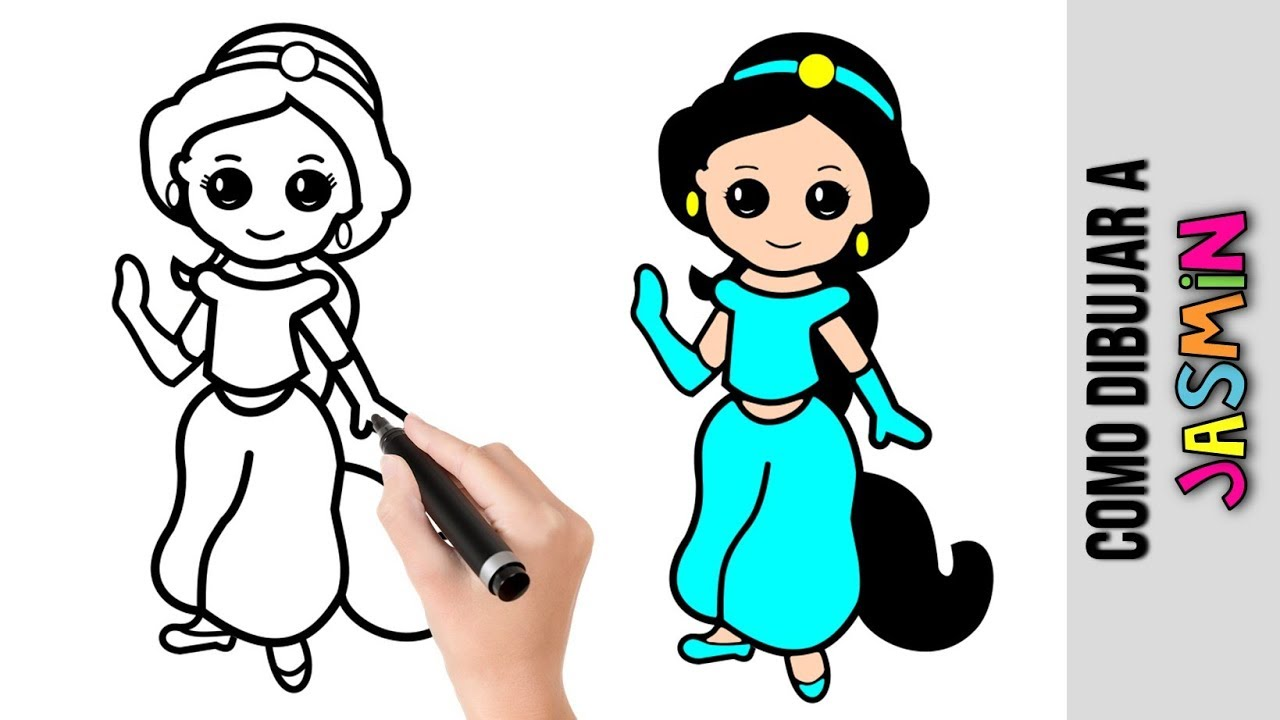 Dibujos De Disney Fáciles De Colorear: Como Dibujar A Jasmin De Aladino ★ Princesa De Disney
