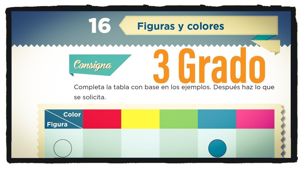 Desafío 16 Tercer grado, Figuras y colores página 38 del libro de matemáticas de tercer grado.