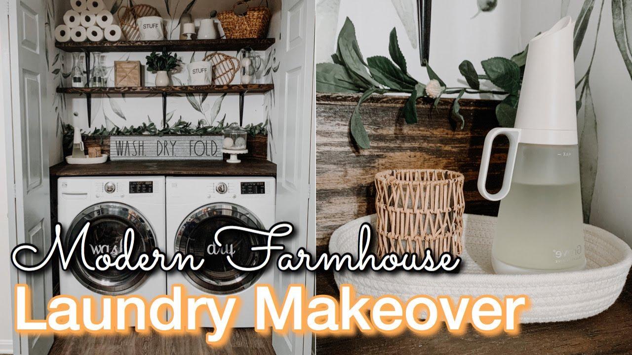 Diy Laundry Room Makeover On A Budget Decorating Ideas Modern Farmhouse Laundry Laundry Diy Youtube