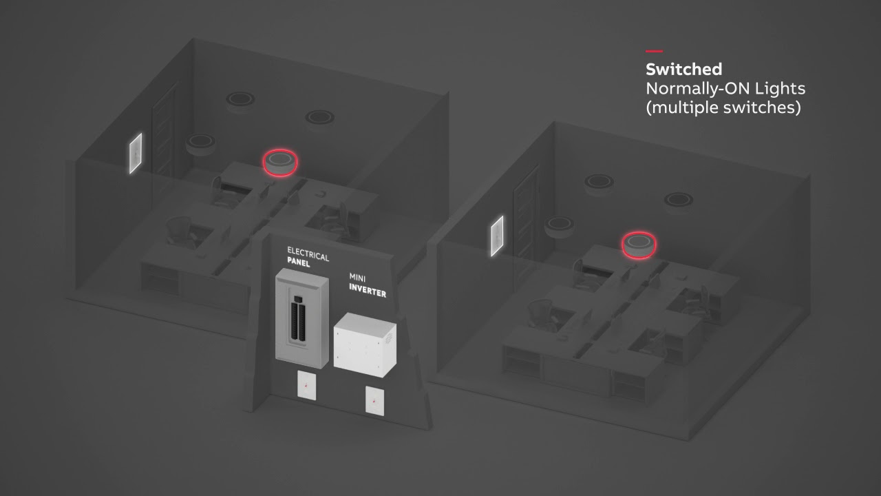 abb mini inverter wiring diagram-normally-on with multiple switches