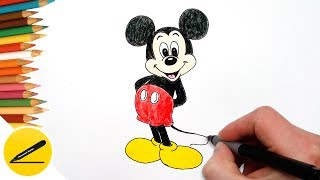 How to Draw Mickey Mouse Step by Step, Easy - Drawing Lessons for Kids