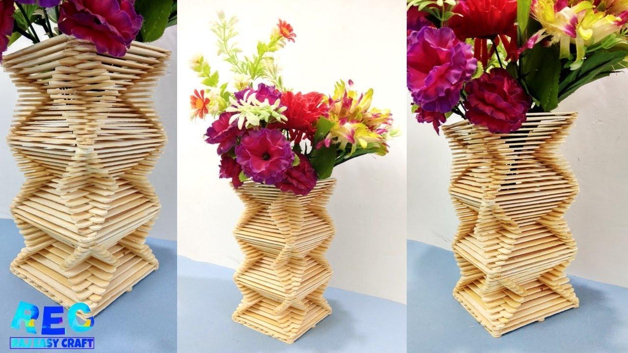Ice Cream Sticks Craft Flower Vase