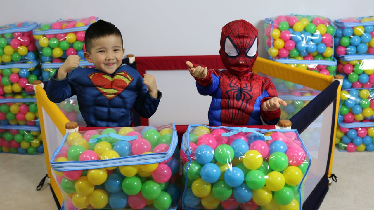 Making A Giant Ball Pit With Spiderman And Superman Fun