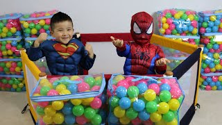 MAKING A GIANT BALL PIT With Spiderman and Superman Fun Time With Super Hero  Ckn Toys
