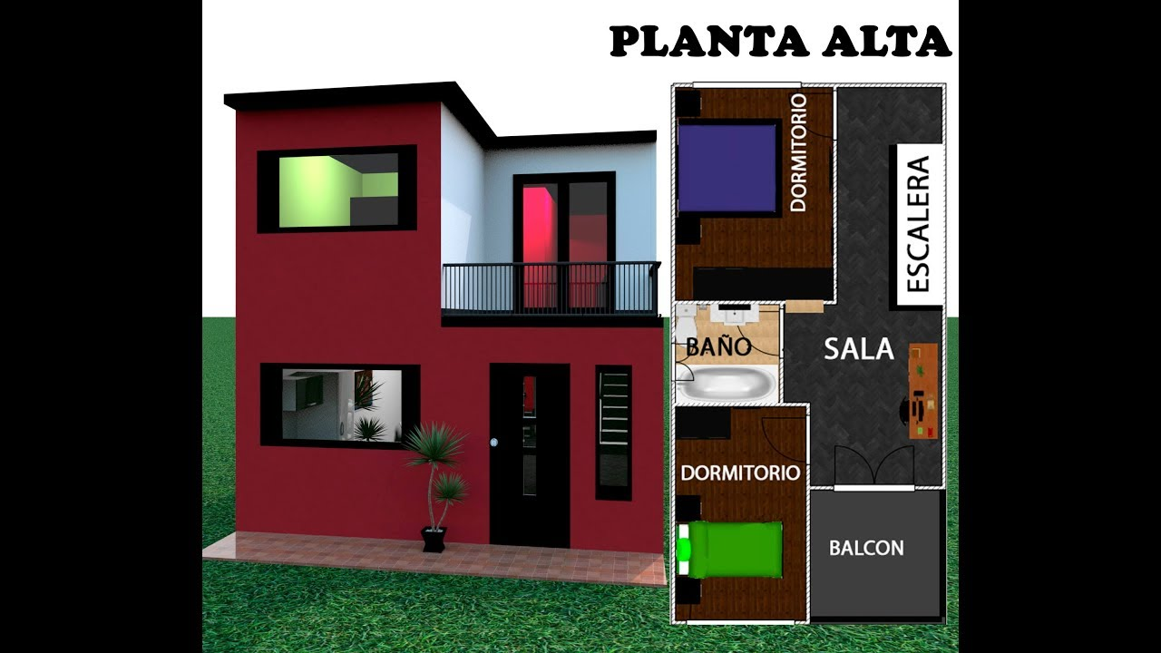 Casa 5 x 10 house 5x10 estilo moderna youtube for Diseno de casa de 5 x 10