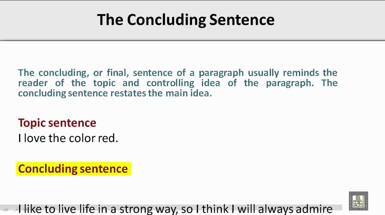concluding sentence english essay Learn how to conclude your essay effectively with guidelines from university of maryland university college's effective writing center.