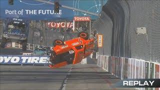 Stadium Super Trucks 2018. Race 1 Grand Prix at Long Beach. Apdaly Lopez Crash Rolls