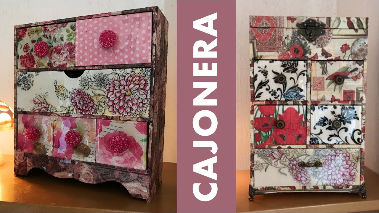 Cajoneras decoradas con servilletas de diferentes estilos - Cajoneras decoradas ...