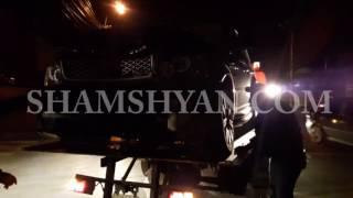 Երևանում բախվել են Nissan ն ու Range Rover ը  վերջինն էլ հարվածել է գովազդային սյանը