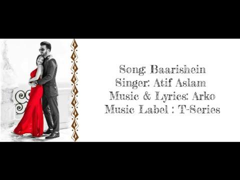 BAARISHEIN - Atif Aslam Full Song With Lyrics ▪ Arko Ft. Nushrat Bharucha