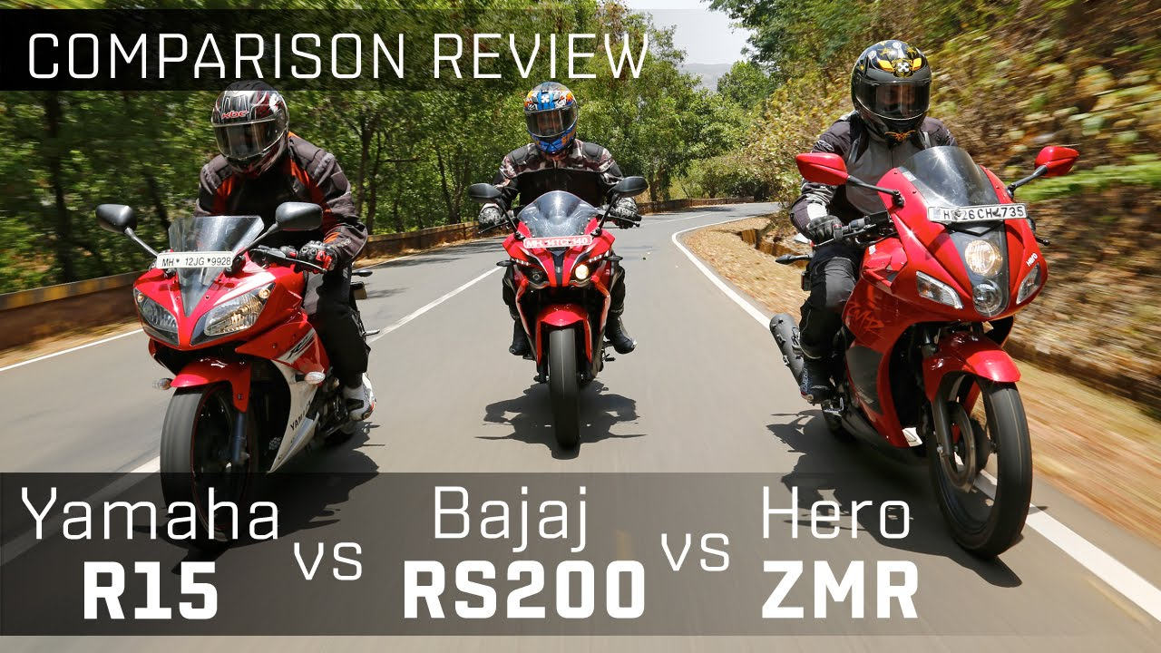 Bajaj pulsar rs200 vs yamaha r15 vs hero karizma zmr bike comparison video zigwheels youtube