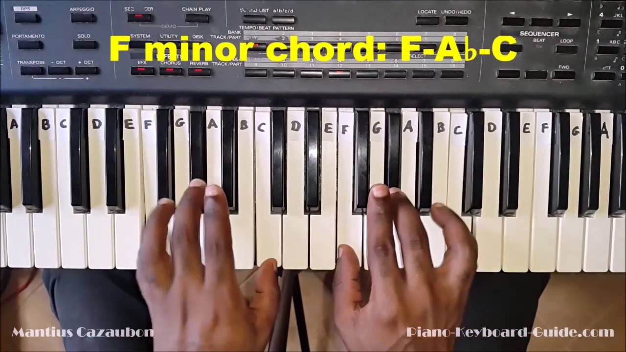 F minor chord – How to play an Fm chord on piano and keyboard