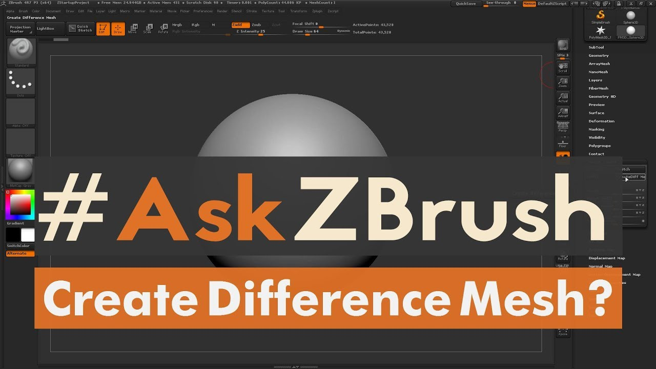 """AskZBrush: """"How does Morph Target – Create Difference Mesh"""