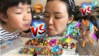 누가 이길까? 흥미진진한 게임대결~ 게임배틀 추천 베스트게임 M&M 초콜릿을 빨대로 옮겨라! Best Kids Challenge TOP 3 l Candy challenge game