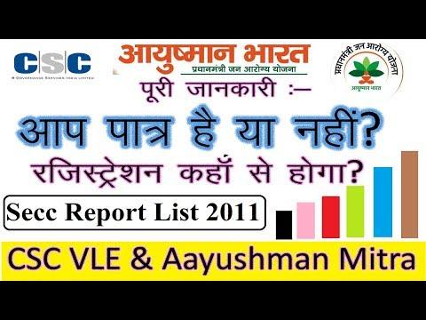 आयुष्मान भारत SECC 2011 जनगणना REPORT CSC और आयुष्मान मित्र II