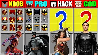 Minecraft NOOB vs PRO vs HACKER vs GOD JUSTICE LEAGUE CRAFTING Mutant Monsters CHALLENGE Animation