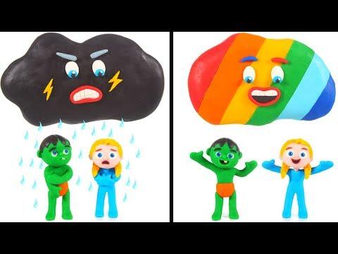 Rainbow Cloud VS Bad Cloud 💕 Cartoons For Kids