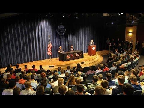 Tom Kelley '56 and Gary Wetzel Addresses the BC High Student Body