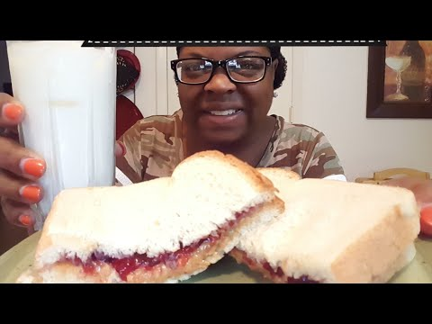 Peanut Butter & Jelly Sandwich & Ice Cold Milk•Mukbang(eating show)| Singing & Eye update
