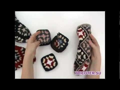 Вязание крючком для начинающих видео уроки носки из квадратов
