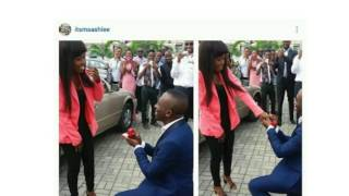 Man kneels down to propose to his girlfriend after church service in Port harcourt