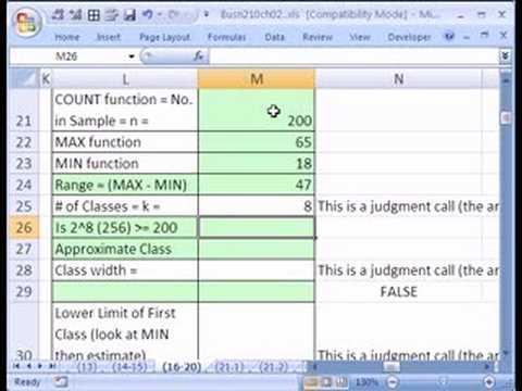 Excel Statistics 20: P1 Quantitative Freq. Dist. w Formulas