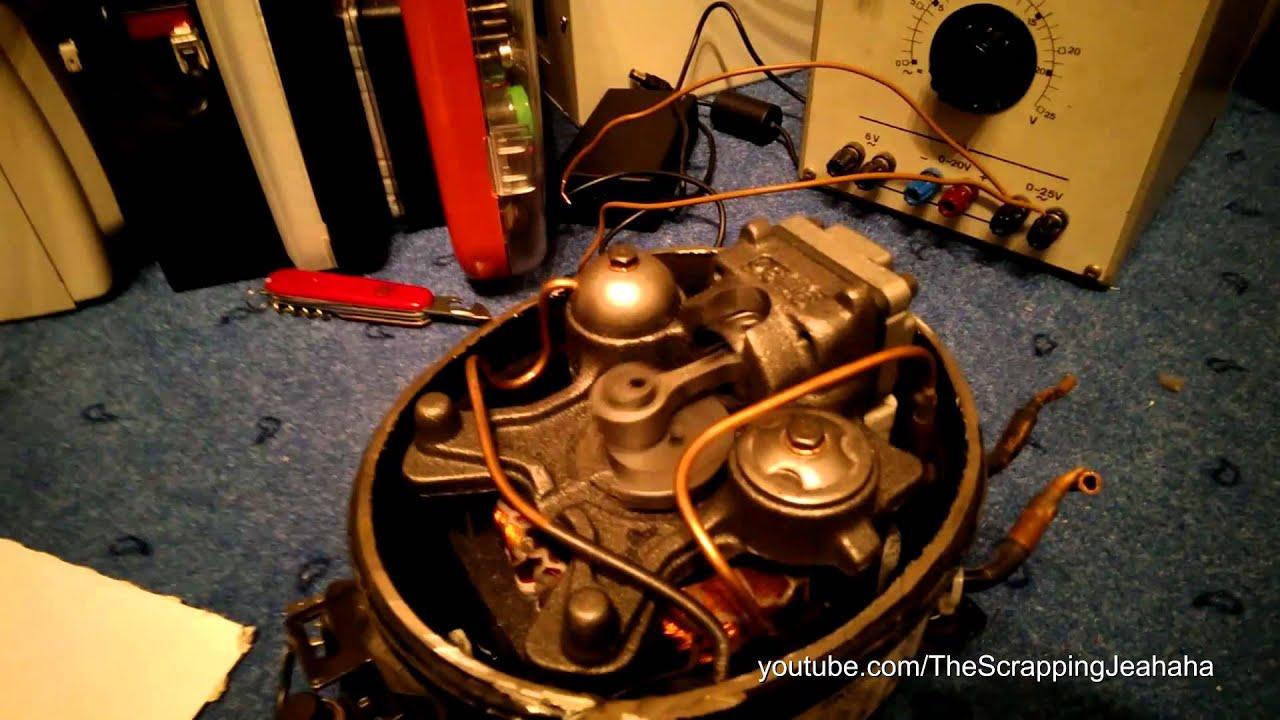 Kühlschrank Kompressor : Geöffneter kühlschrankkompressor läuft youtube