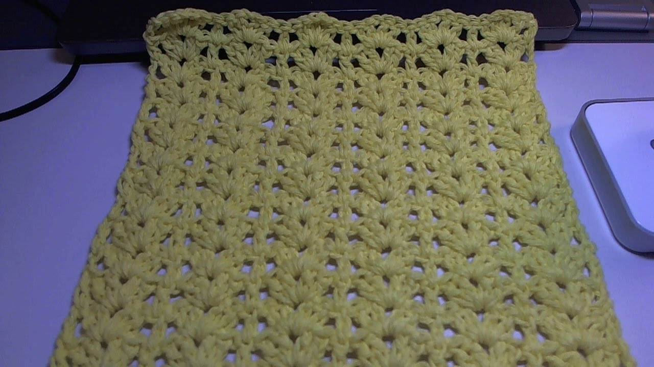 Easy crochet dishcloth with Shells and posts design / Beginner Level ...