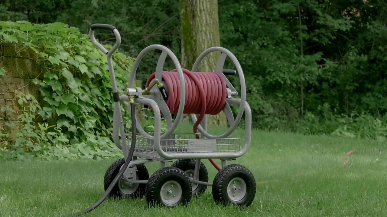 Strongway garden hose reel cart holds 400ft l x 5 8in dia hose youtube for Strongway garden hose reel cart